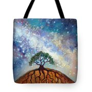 Lone Tree And Milky Way Tote Bag