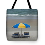 Lonely Beach Chairs Tote Bag