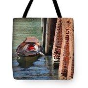 Lonely Boat In Venice Tote Bag