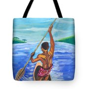 Lonely Boatman In Rwanda Tote Bag