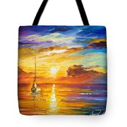 Lonely Sea 2 - Palette Knife Oil Painting On Canvas By Leonid Afremov Tote Bag