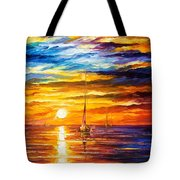 Lonely Sea 3 - Palette Knife Oil Painting On Canvas By Leonid Afremov Tote Bag