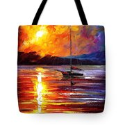 Lonely Yacht - Palette Knife Oil Painting On Canvas By Leonid Afremov Tote Bag