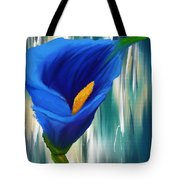 Lonesome And Blue- Blue Calla Lily Paintings Tote Bag