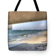 Long Beach From Beneath The Pier Tote Bag