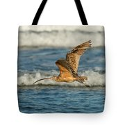 Long-billed Curlew Flying Over The Surf Tote Bag