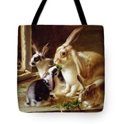 Long-eared Rabbits In A Cage Watched By A Cat Tote Bag by Horatio Henry Couldery