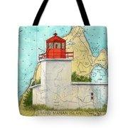 Long Eddy Pt Lighthouse Nb Canada Chart Art Peek Tote Bag