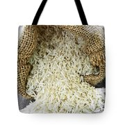 Long Grain Rice In Burlap Sack Tote Bag