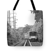 Long Island Railroad Pulling Into Station Tote Bag