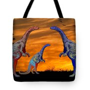 Long Necked Long Tailed Family Of Dinosaurs At Sunset Tote Bag