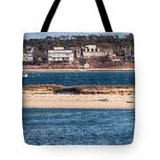 long view of Brant point lighthouse Tote Bag