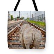 Rhino On A Railway Track Tote Bag