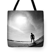 Longboarder Riding A Small Wave Tote Bag