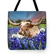 Longhorn In Bluebonnets Tote Bag