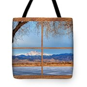 Longs Peak Across The Lake Barn Wood Picture Window Frame View Tote Bag by James BO  Insogna