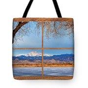 Longs Peak Across The Lake Barn Wood Picture Window Frame View Tote Bag