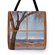 Longs Peak Winter Lake Barn Wood Picture Window View Tote Bag