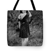 Looking Back In Black And White Tote Bag