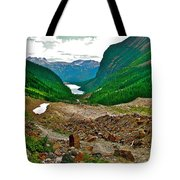 Looking Back To Lake Louise From Trail To Plain Of Six Glaciers In Banff Np-ab  Tote Bag