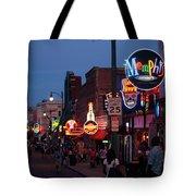 Looking Down Beale Street Memphis Tote Bag