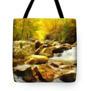 Looking Down Little River In Autumn Tote Bag
