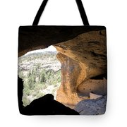 Looking Out Of A Cave Of Gila Dwellings Tote Bag