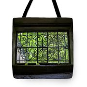 Looking Through Old Basement Window On To Vibrant Green Foliage Fine Art Photography Print  Tote Bag