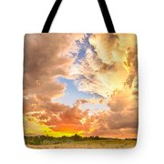 Looking Through The Colorful Sunset To Blue Tote Bag