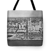 Looking Up Flagler Street At Downtown Miami Tote Bag