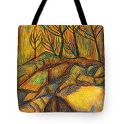 Looking Up In Yellow Light Tote Bag