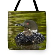 Loon Chick Rides On A Parents Back Tote Bag