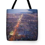 Los Angeles Aerial Overview On Approach To Lax At Night  Tote Bag