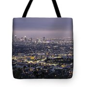 Los Angeles At Night From The Griffith Park Observatory Tote Bag