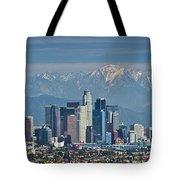 Los Angeles Skyline Mt Baldy Snowcap Tote Bag