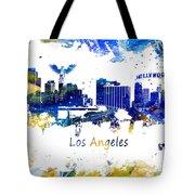 Los Angeles California Skyline Yellow Blue Tote Bag