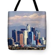 Los Angeles Skyline With Mountains In Background Tote Bag