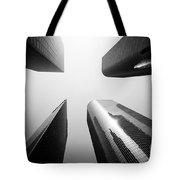 Los Angeles Skyscraper Buildings In Black And White Tote Bag by Paul Velgos