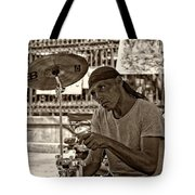 Lost In The Beat Sepia Tote Bag