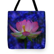 Lotus Flower In Blue Tote Bag