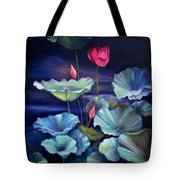 Lotus On Dark Water Tote Bag
