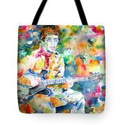 Lou Reed Playing The Guitar - Watercolor Portrait Tote Bag
