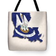 Louisiana Map Art With Flag Design Tote Bag