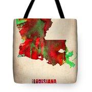 Louisiana Watercolor Map Tote Bag by Naxart Studio