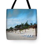 Lounge Chairs And Parasol On Pink Sands Tote Bag