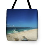 Lounge Chairs And Traditional Boat On Puka Beach In Boracay Phil Tote Bag