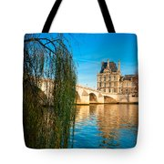 Louvre Museum And Pont Royal - Paris - France Tote Bag
