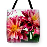 Love And Flowers Tote Bag by Kathy  White