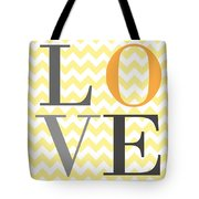 Love Chevron Yellow Tote Bag