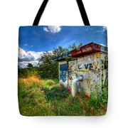 Love Graffiti Covered Building In Field Tote Bag